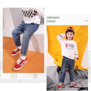 quần jean xanh trẻ em